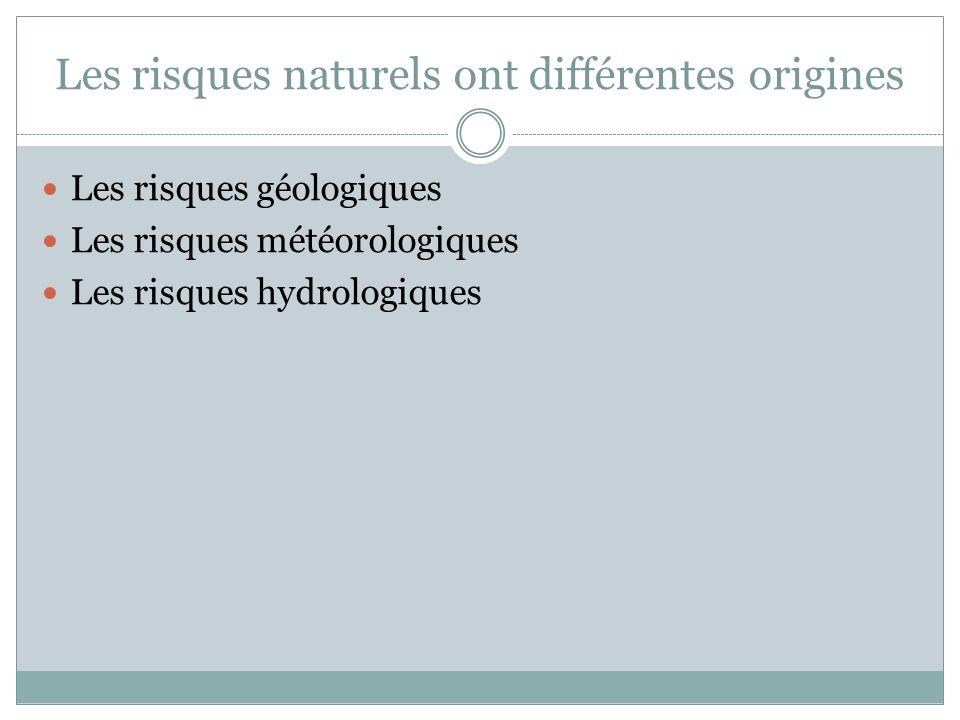 Les risques naturels ont différentes origines