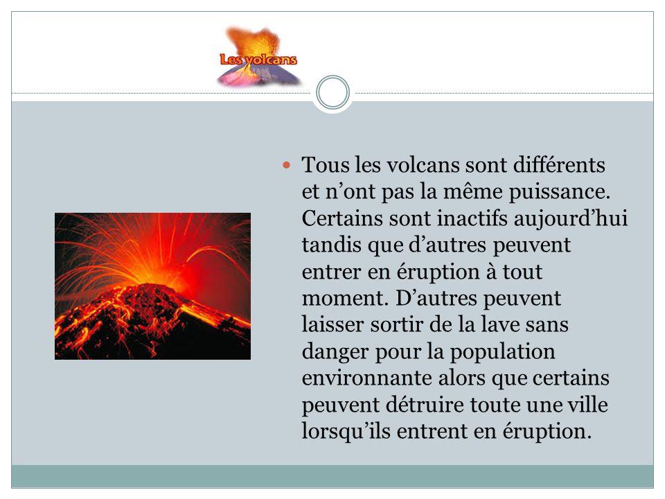 Tous les volcans sont différents et n'ont pas la même puissance