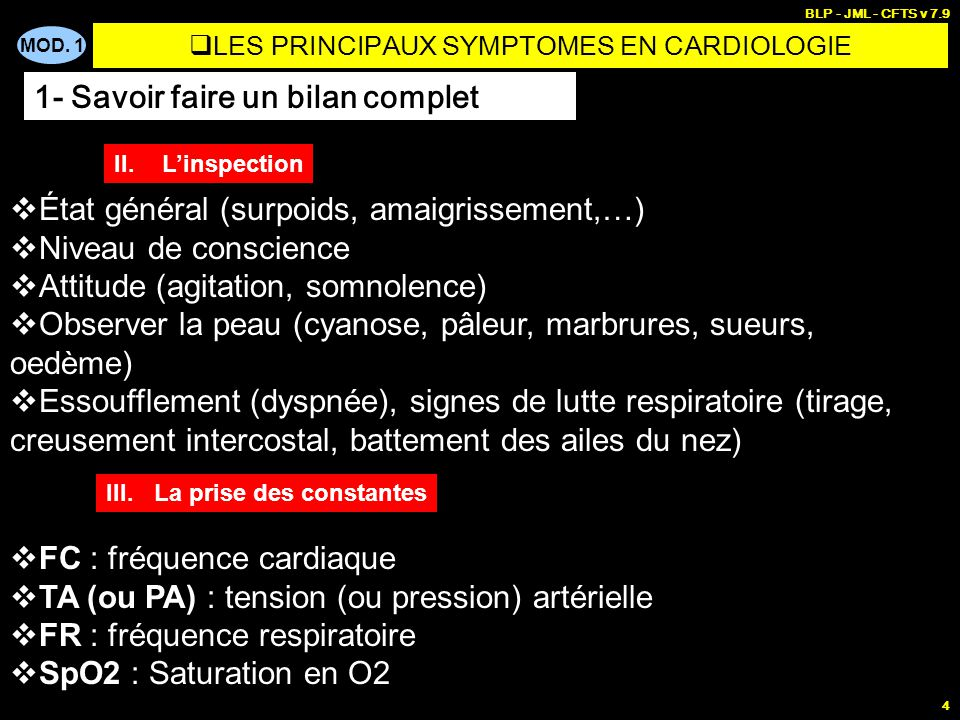 LES PRINCIPAUX SYMPTOMES EN CARDIOLOGIE