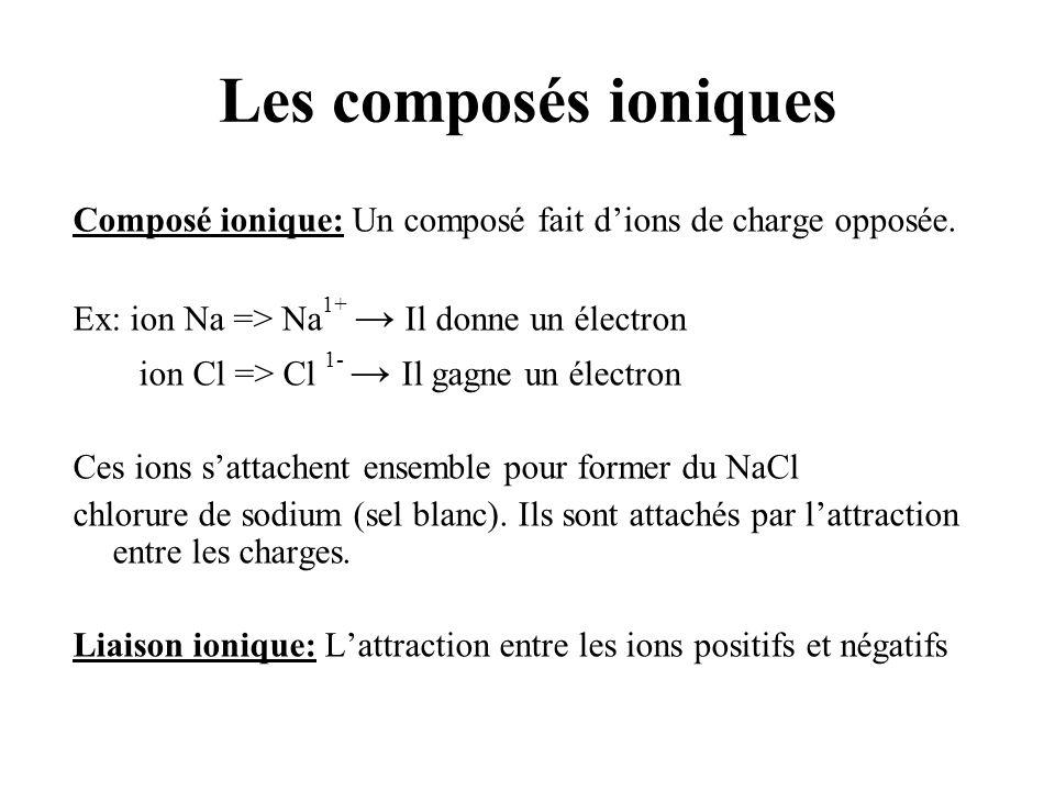 Les composés ioniques Composé ionique: Un composé fait d'ions de charge opposée. Ex: ion Na => Na1+ → Il donne un électron.