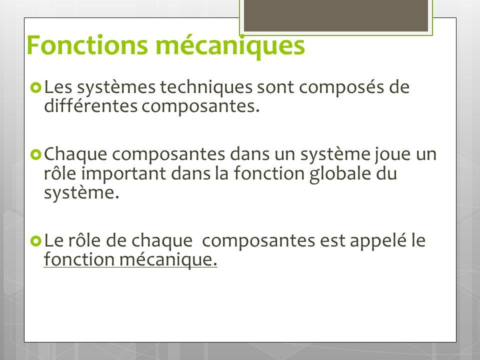 Fonctions mécaniques Les systèmes techniques sont composés de différentes composantes.