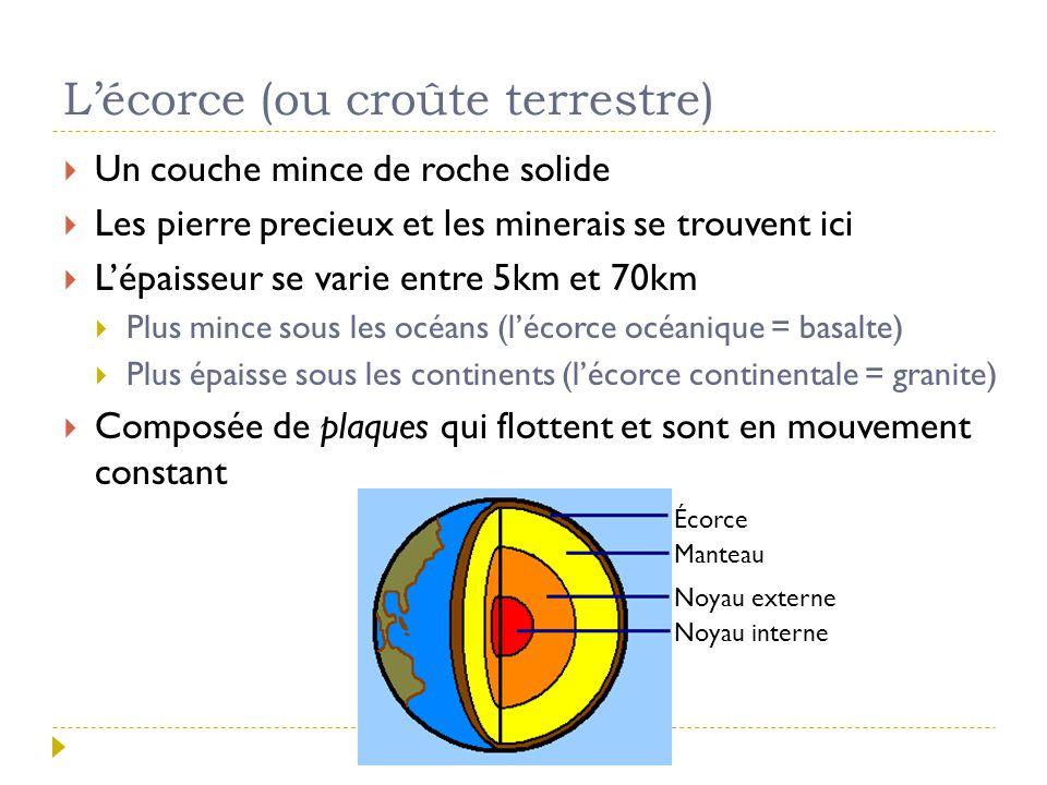 L'écorce (ou croûte terrestre)