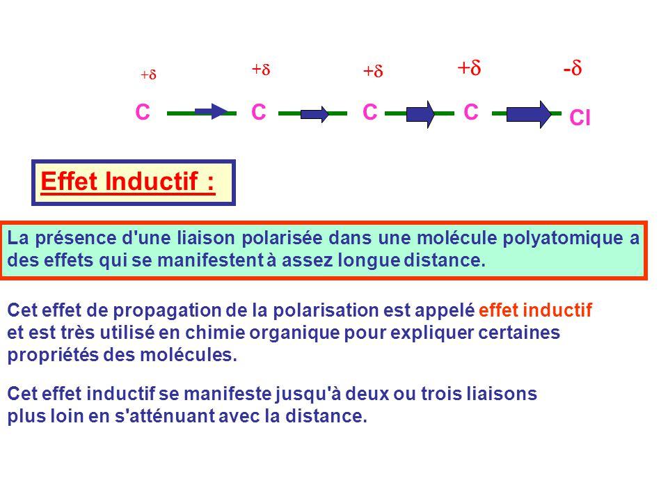 Effet Inductif : +d -d C Cl +d