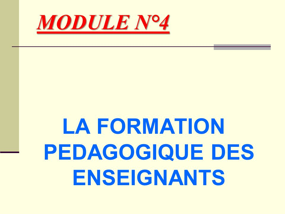LA FORMATION PEDAGOGIQUE DES ENSEIGNANTS
