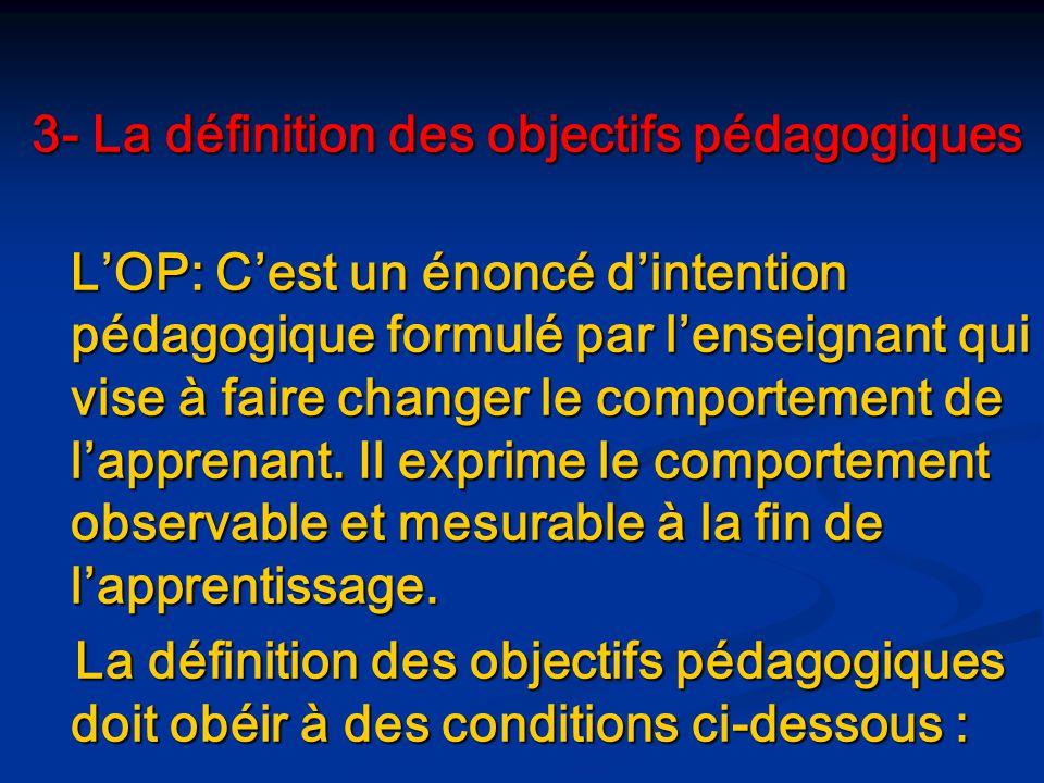 3- La définition des objectifs pédagogiques
