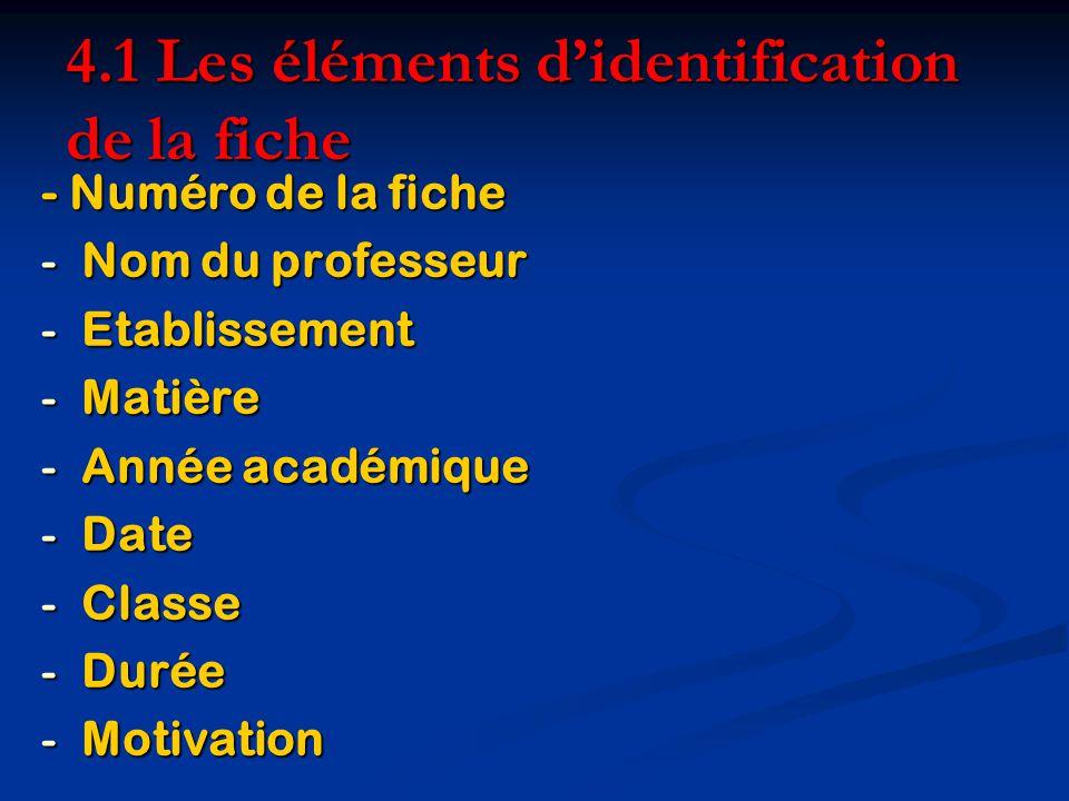 4.1 Les éléments d'identification de la fiche
