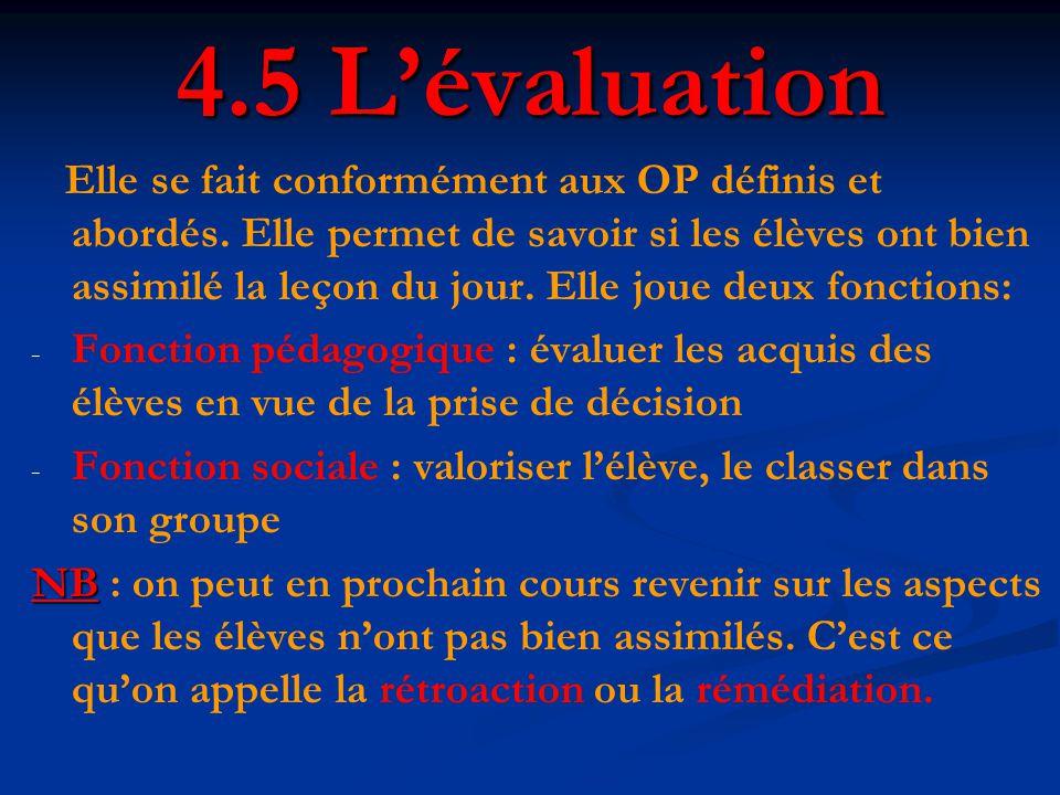 4.5 L'évaluation