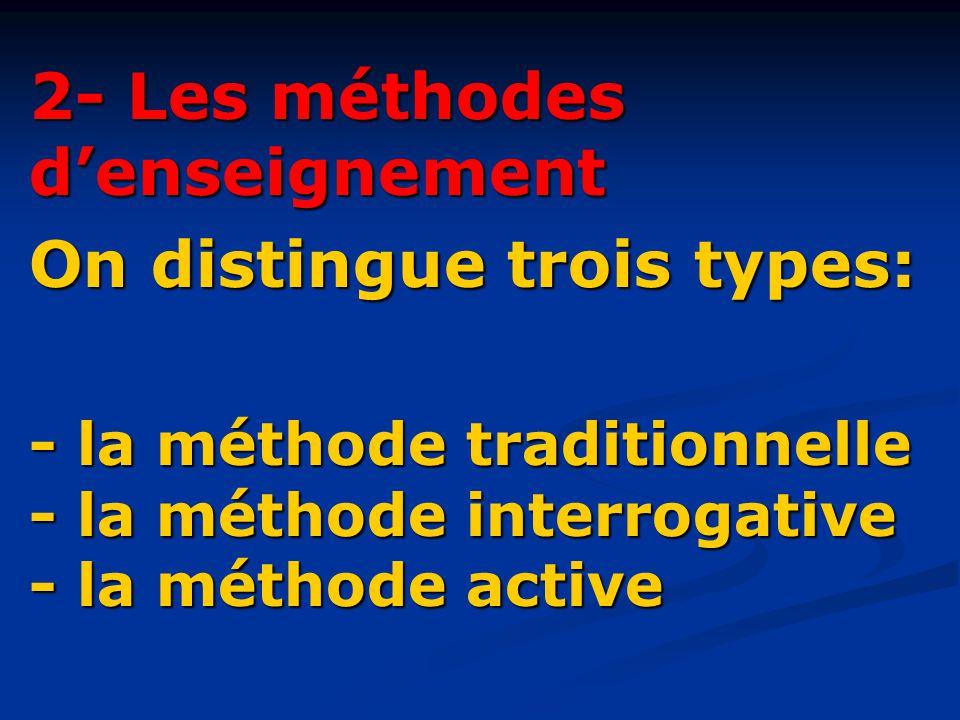 2- Les méthodes d'enseignement On distingue trois types: