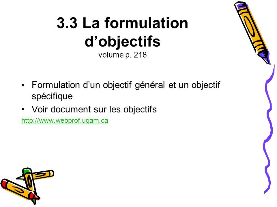 3.3 La formulation d'objectifs volume p. 218