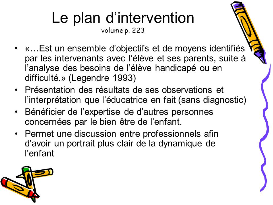Le plan d'intervention volume p. 223