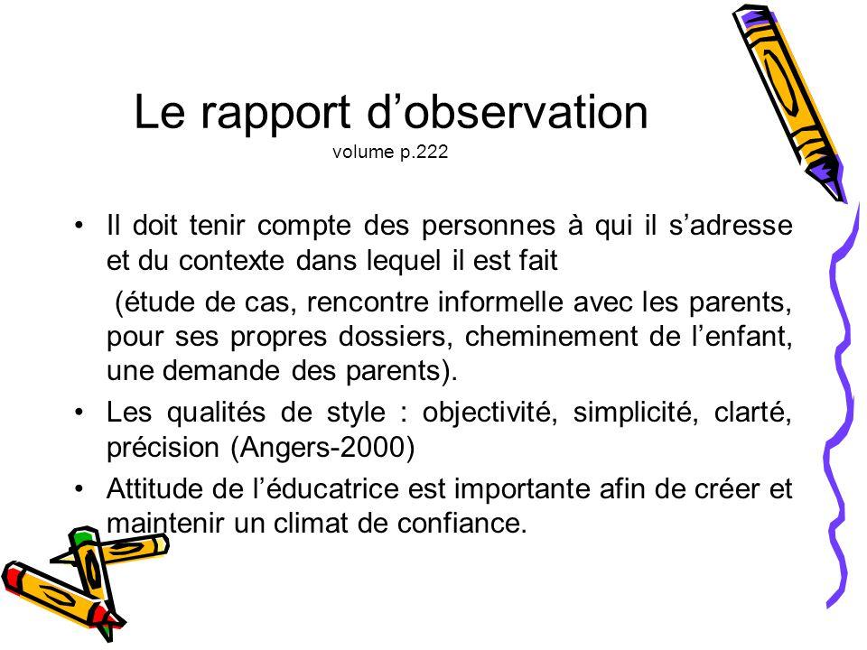 Le rapport d'observation volume p.222