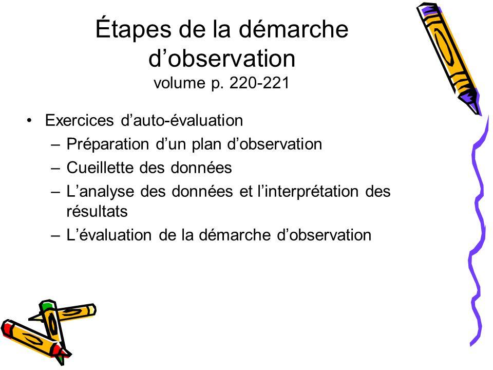 Étapes de la démarche d'observation volume p. 220-221