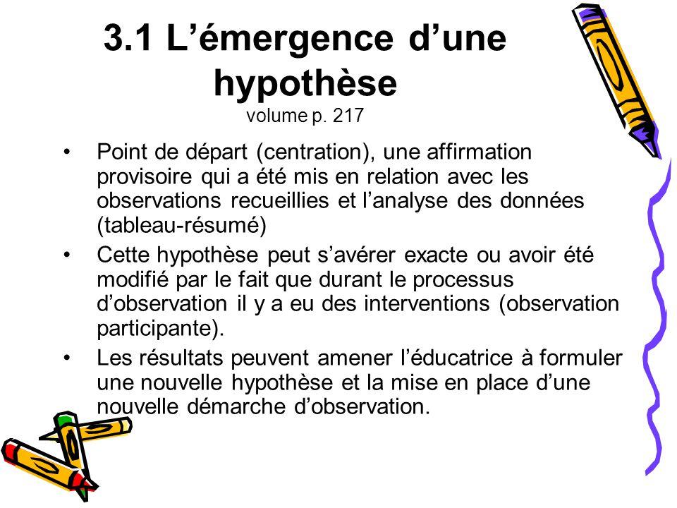 3.1 L'émergence d'une hypothèse volume p. 217