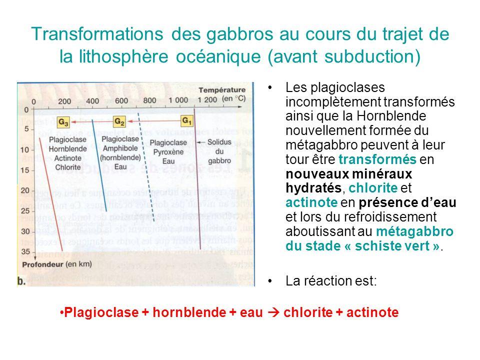 Transformations des gabbros au cours du trajet de la lithosphère océanique (avant subduction)