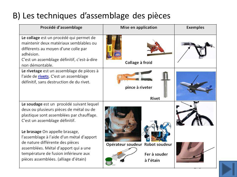 B) Les techniques d'assemblage des pièces