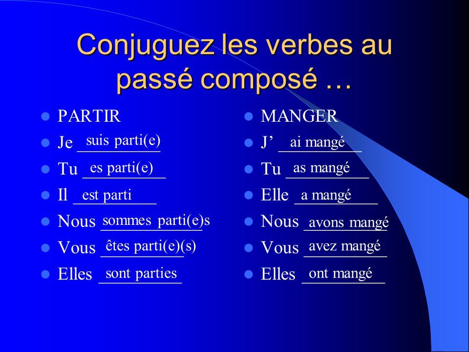 Conjuguez les verbes au passé composé …