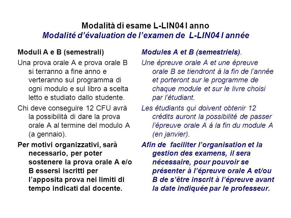 Modalità di esame L-LIN04 I anno Modalité d'évaluation de l'examen de L-LIN04 I année