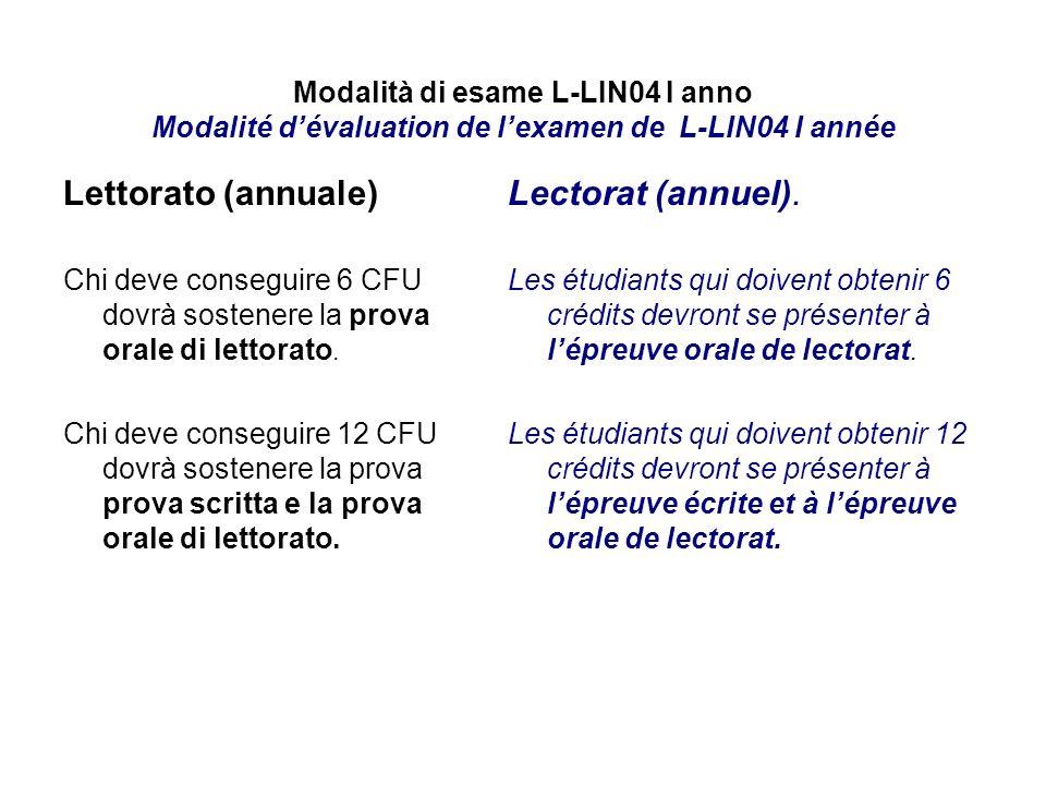 Lettorato (annuale) Lectorat (annuel).