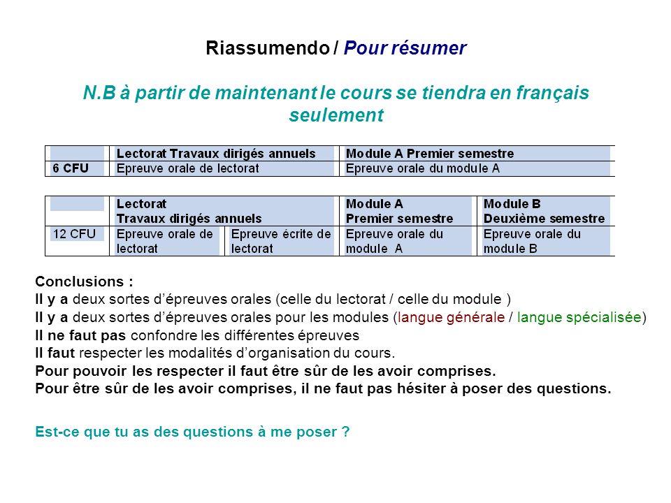 Riassumendo / Pour résumer N