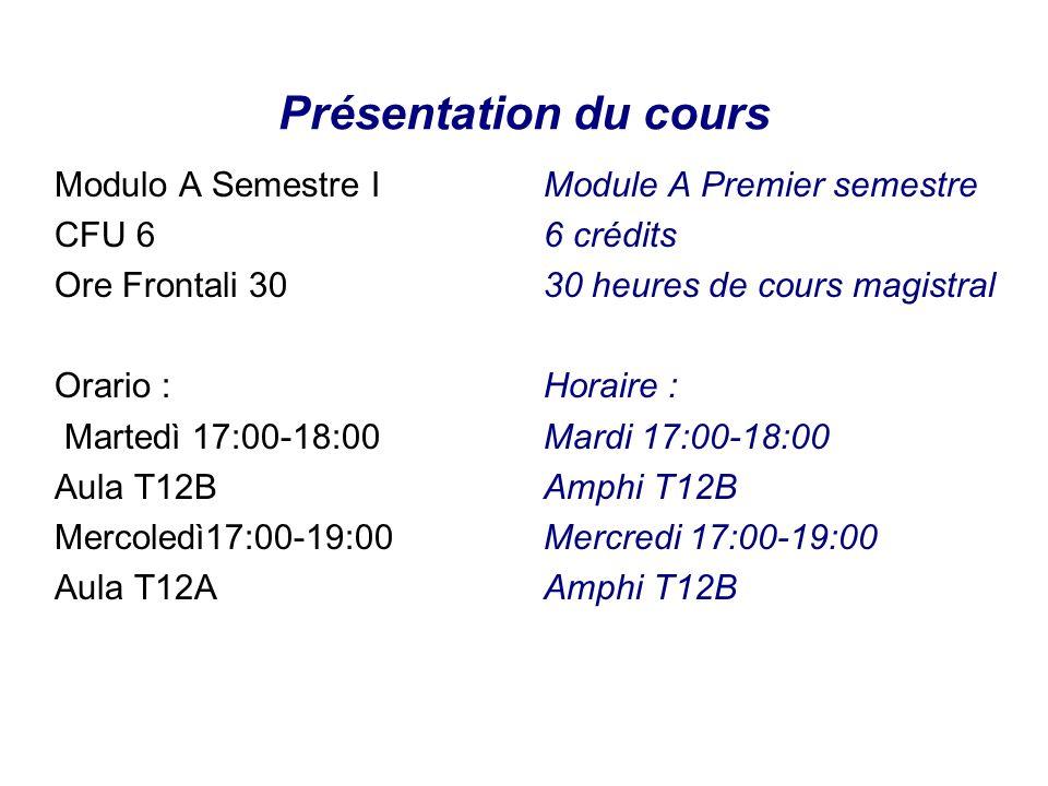 Présentation du cours Modulo A Semestre I CFU 6 Ore Frontali 30