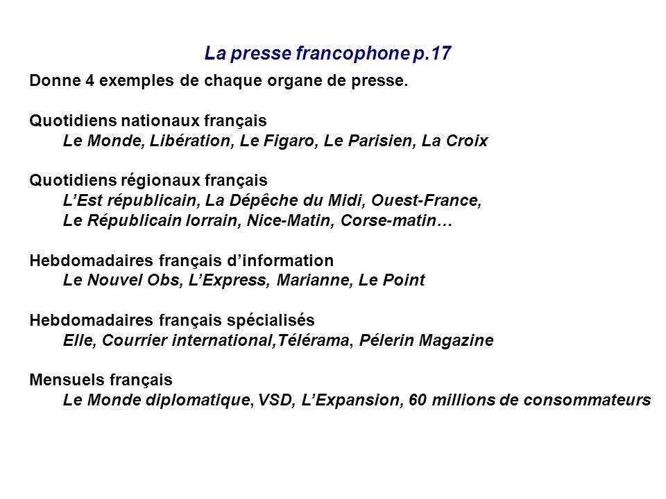 La presse francophone p.17