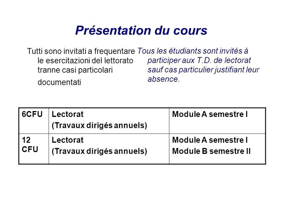 Présentation du cours Tutti sono invitati a frequentare le esercitazioni del lettorato tranne casi particolari documentati.