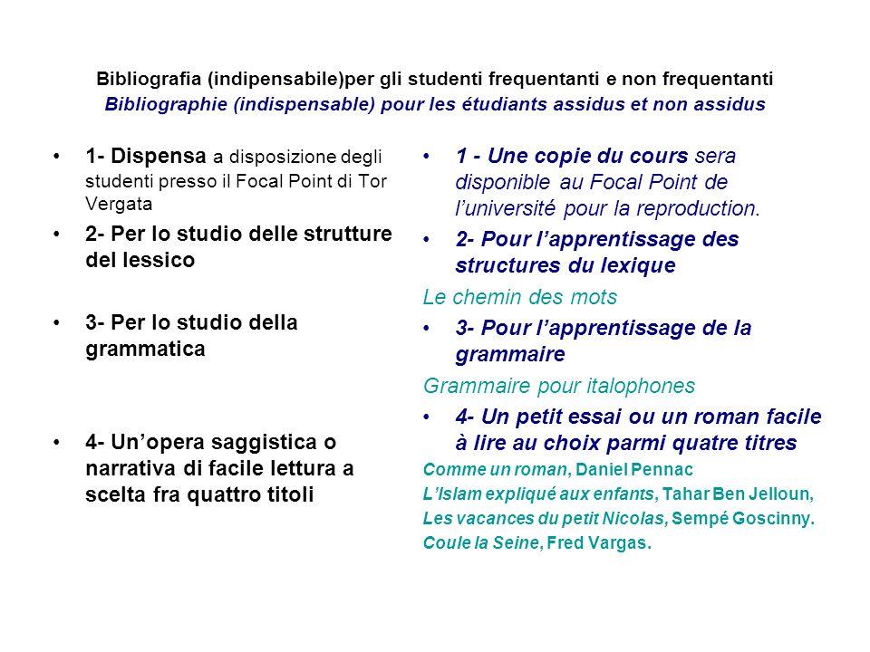 2- Per lo studio delle strutture del lessico