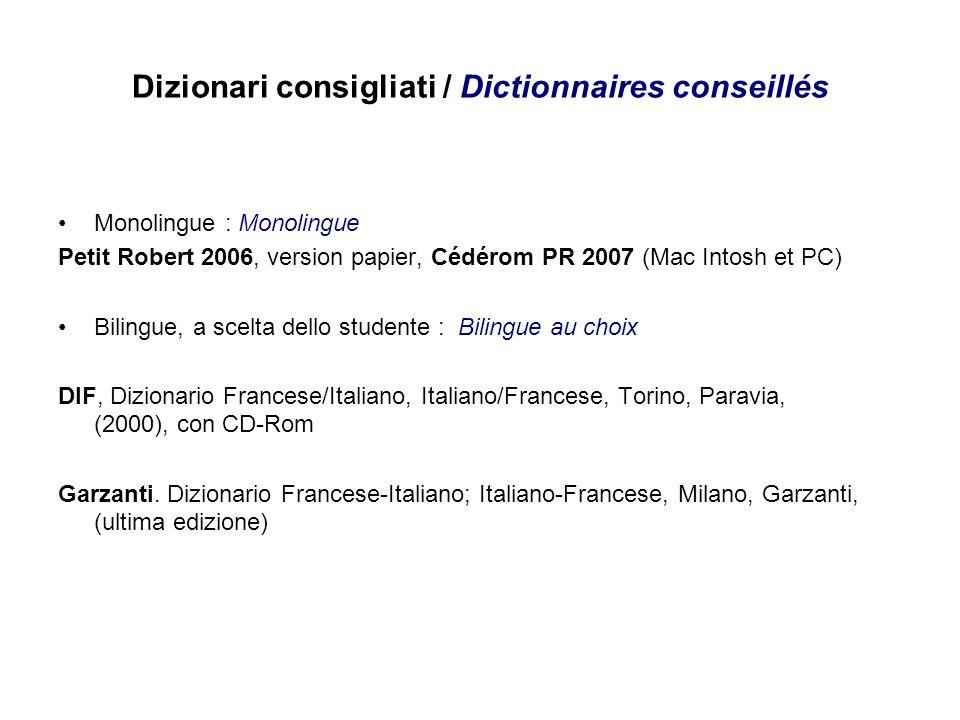 Dizionari consigliati / Dictionnaires conseillés