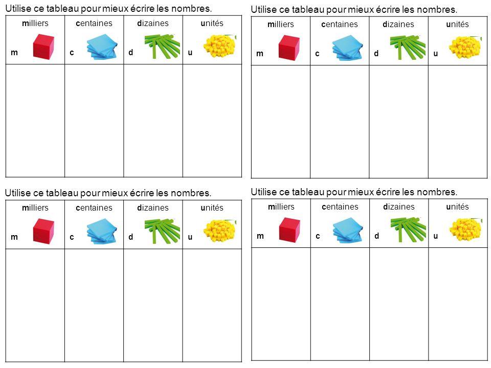 Utilise ce tableau pour mieux crire les nombres ppt - Tableau pour ecrire ...