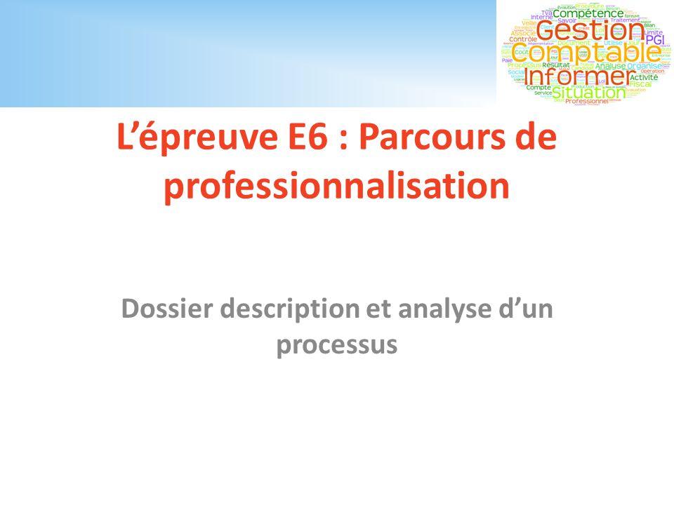 L'épreuve E6 : Parcours de professionnalisation