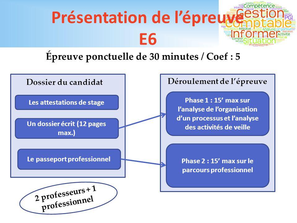 Présentation de l'épreuve E6
