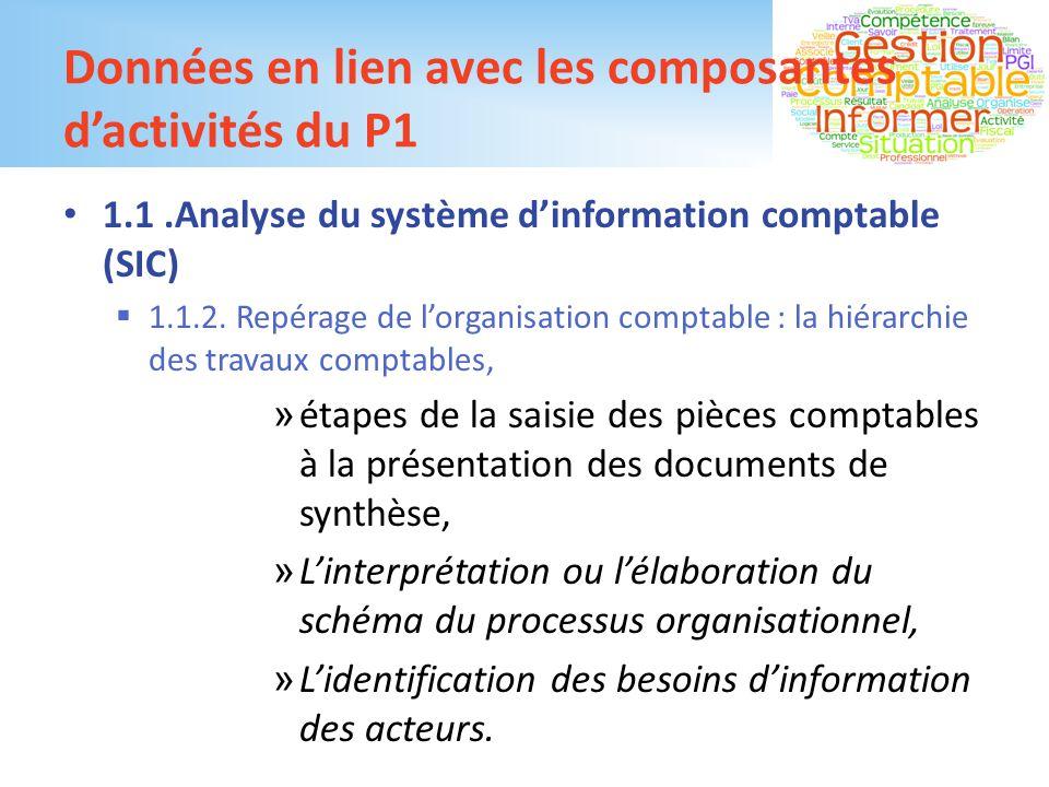 Données en lien avec les composantes d'activités du P1