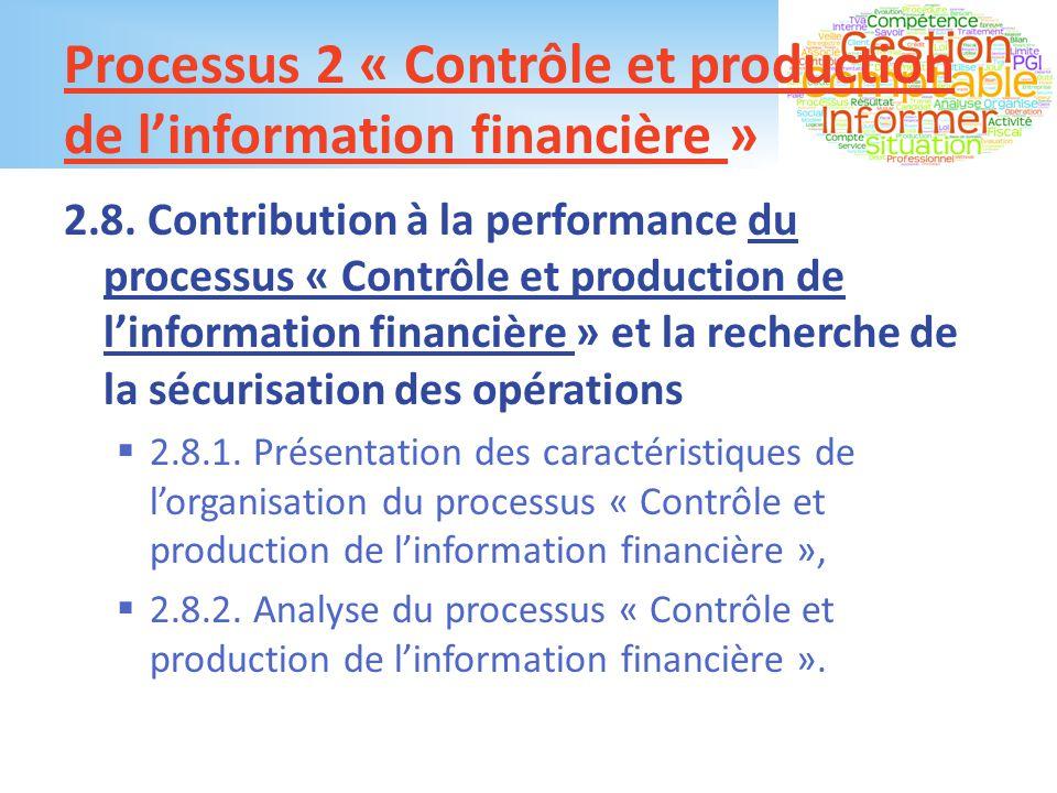 Processus 2 « Contrôle et production de l'information financière »