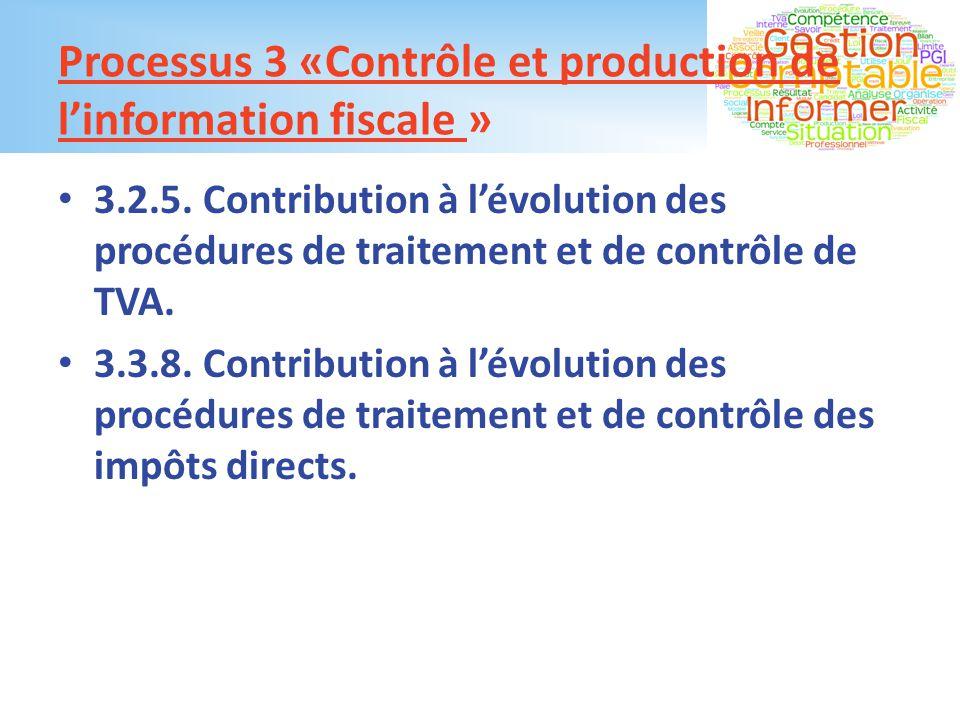Processus 3 «Contrôle et production de l'information fiscale »