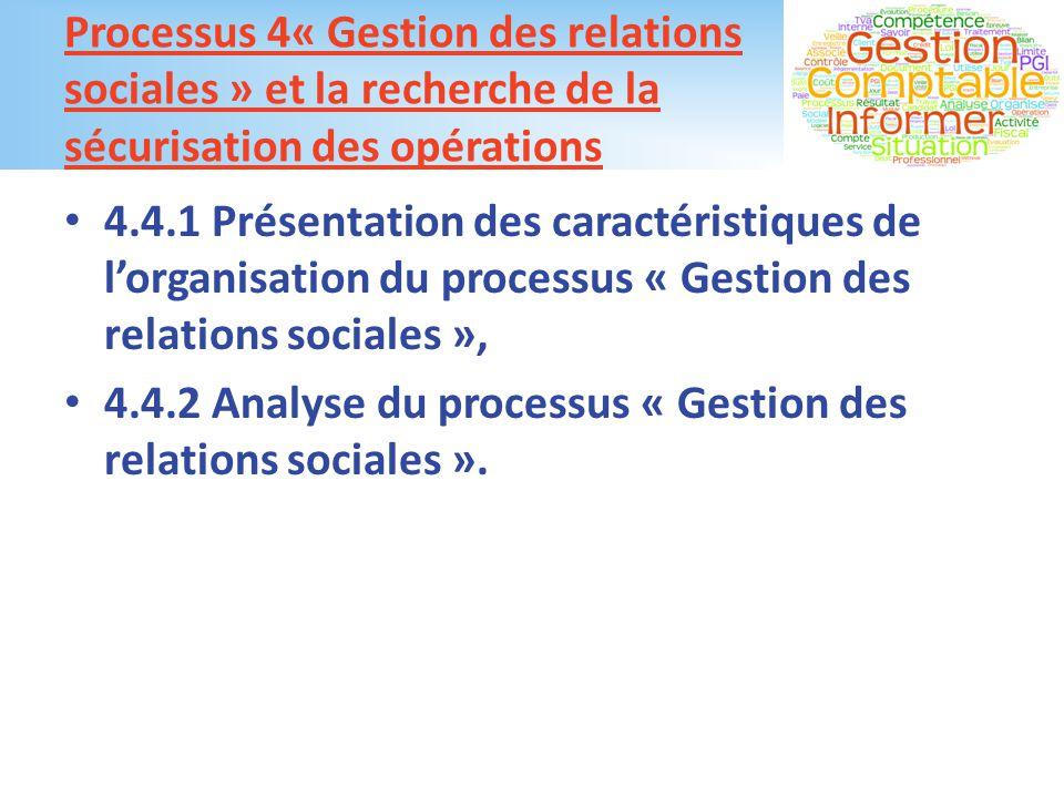 Processus 4« Gestion des relations sociales » et la recherche de la sécurisation des opérations