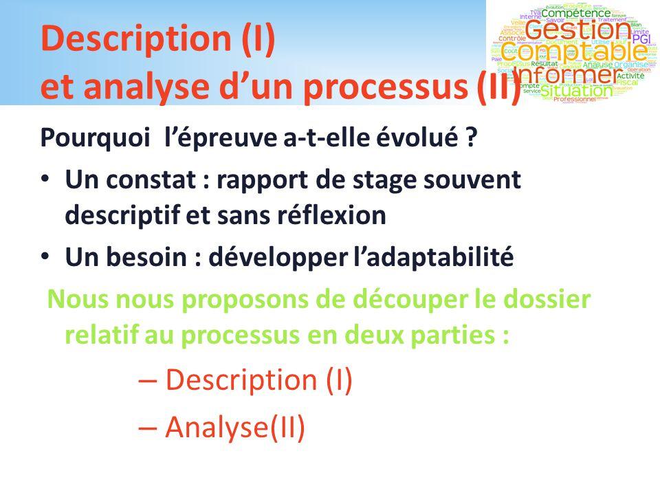 Description (I) et analyse d'un processus (II)