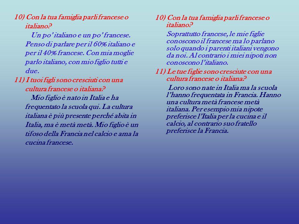 10) Con la tua famiglia parli francese o italiano