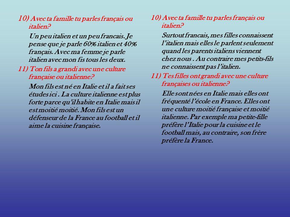 10) Avec ta famille tu parles français ou italien