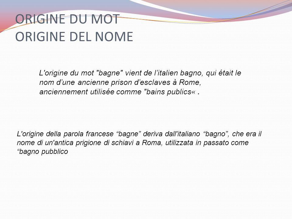 ORIGINE DU MOT ORIGINE DEL NOME