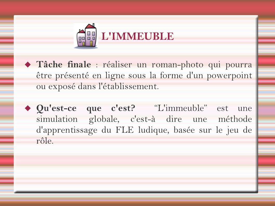 L IMMEUBLE Tâche finale : réaliser un roman-photo qui pourra être présenté en ligne sous la forme d un powerpoint ou exposé dans l établissement.
