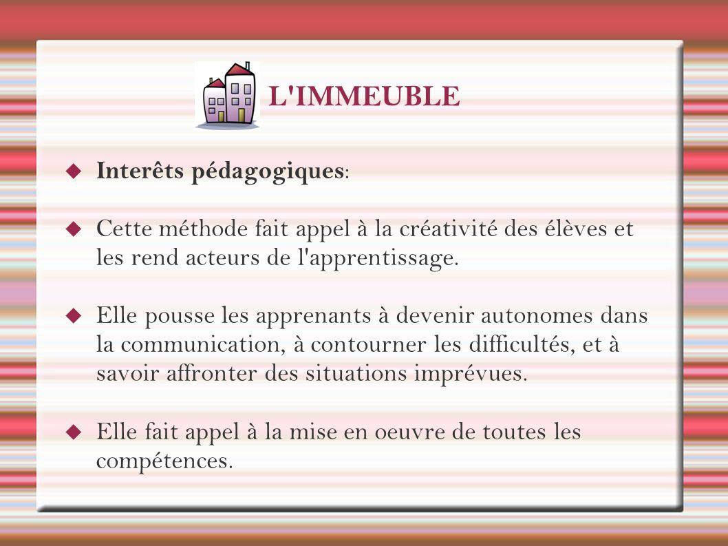 L IMMEUBLE Interêts pédagogiques: