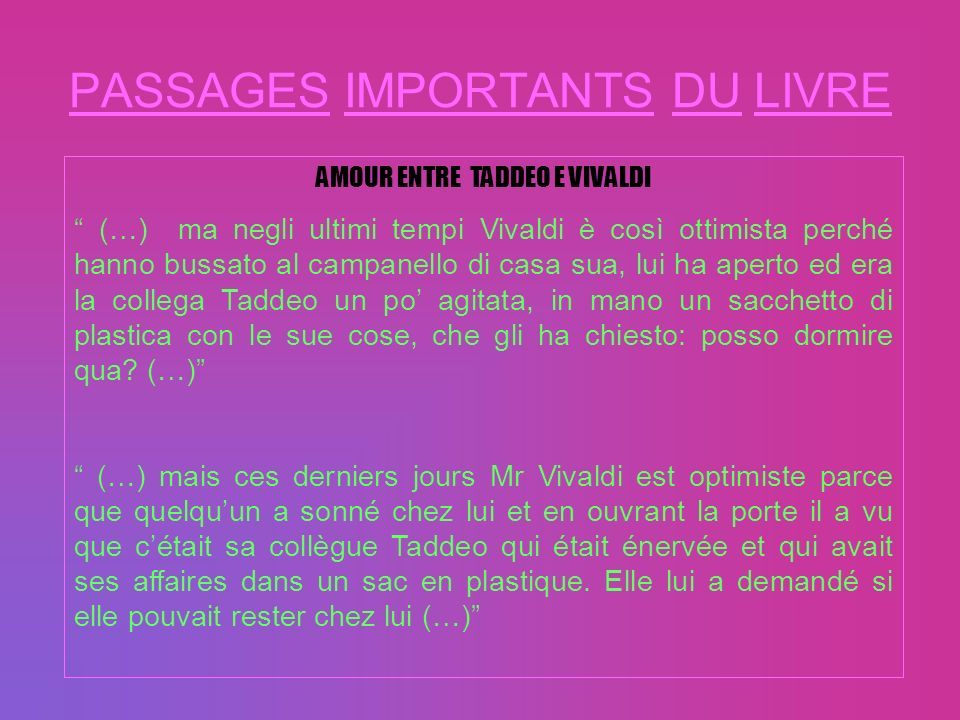 PASSAGES IMPORTANTS DU LIVRE