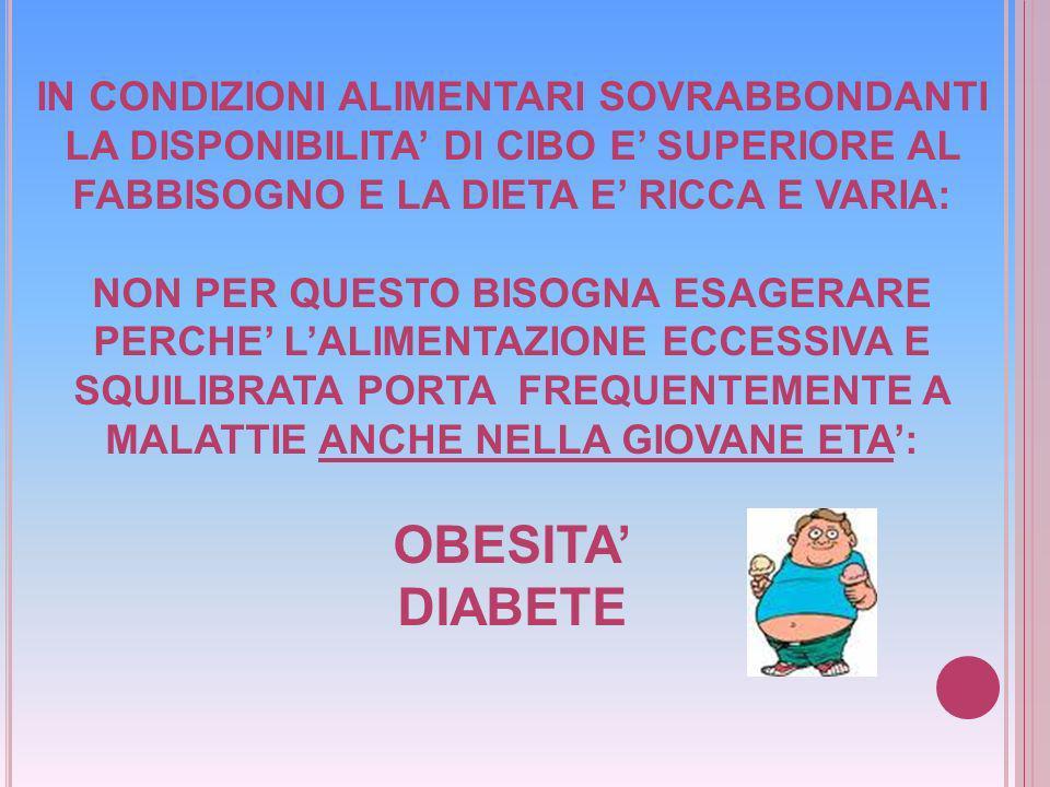 OBESITA' DIABETE IN CONDIZIONI ALIMENTARI SOVRABBONDANTI