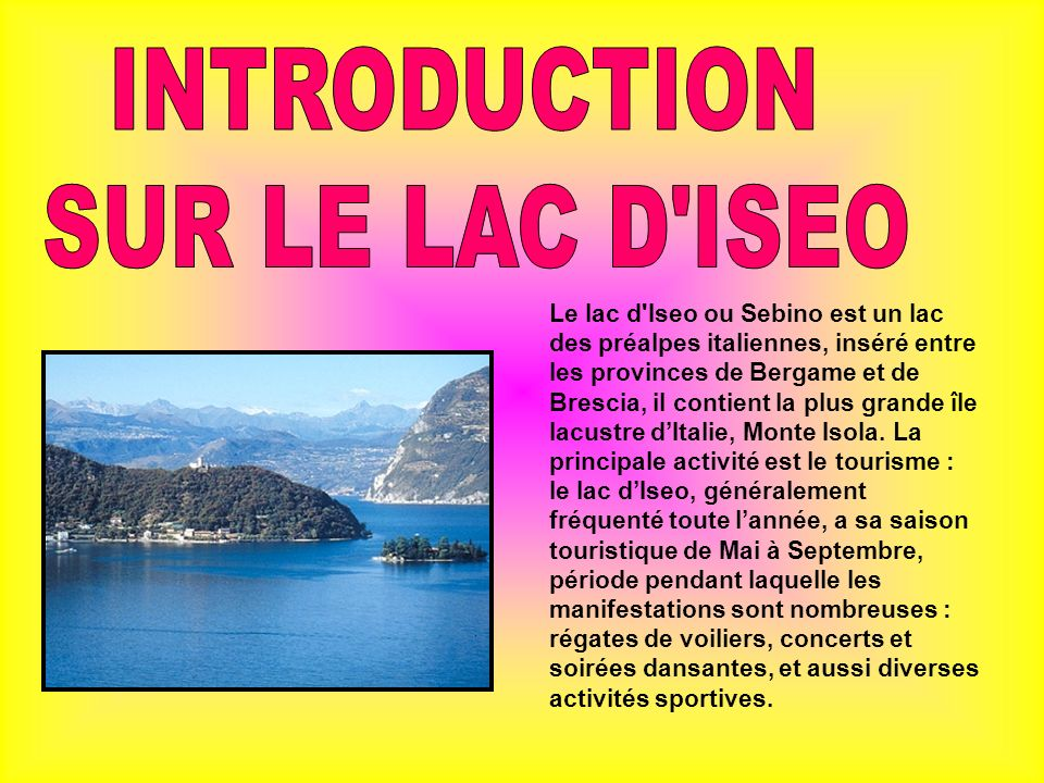 INTRODUCTION SUR LE LAC D ISEO