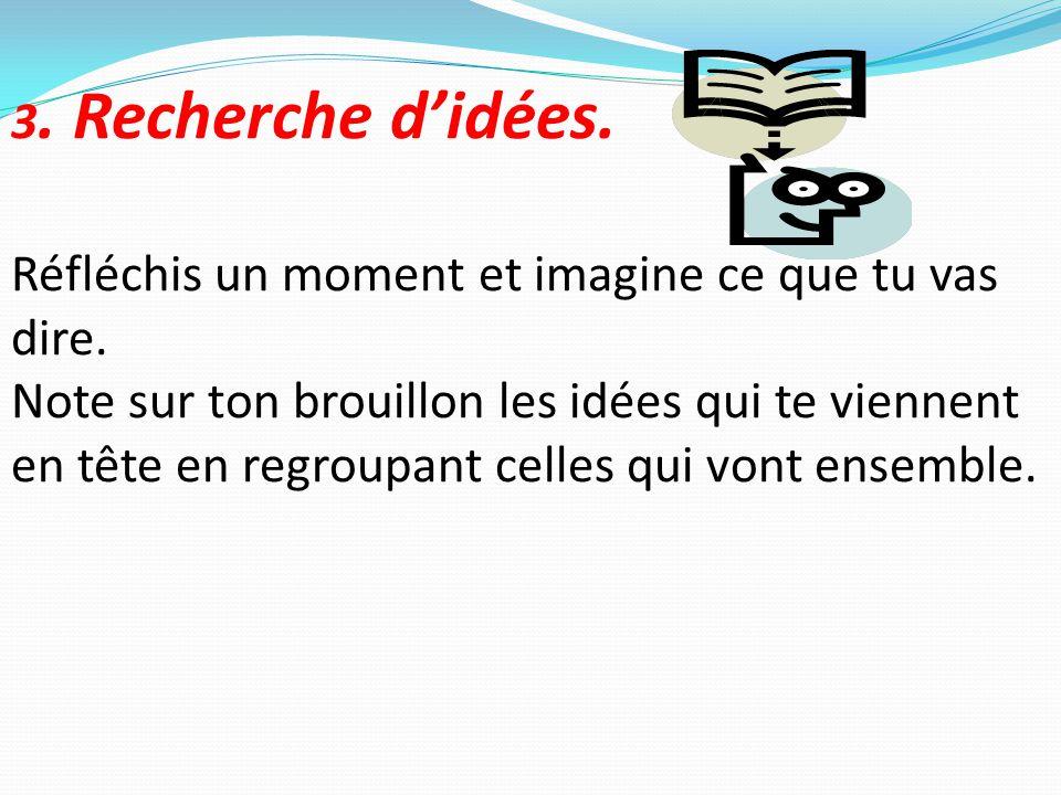 3. Recherche d'idées. Réfléchis un moment et imagine ce que tu vas dire.