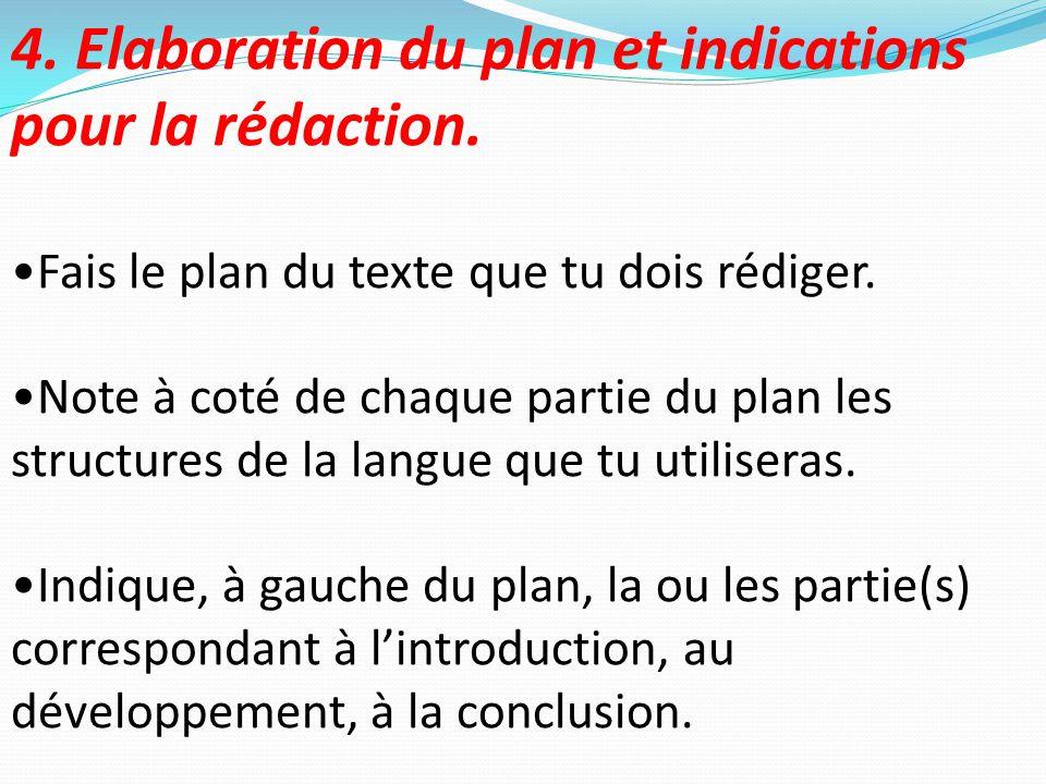 4. Elaboration du plan et indications pour la rédaction.