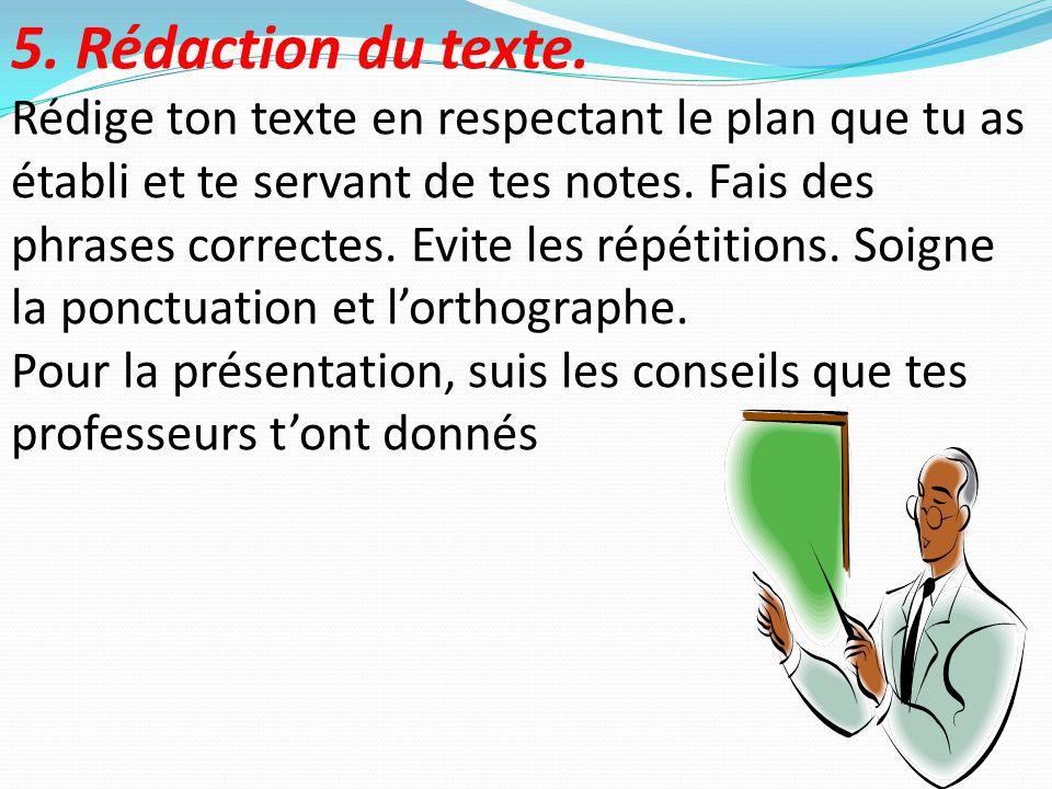 5. Rédaction du texte.