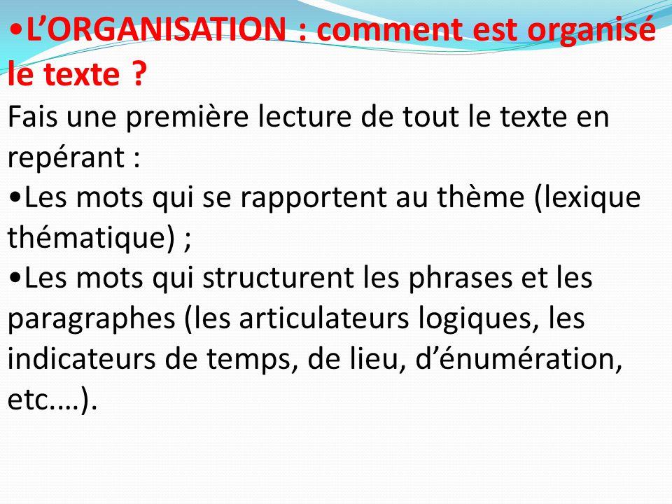 L'ORGANISATION : comment est organisé le texte