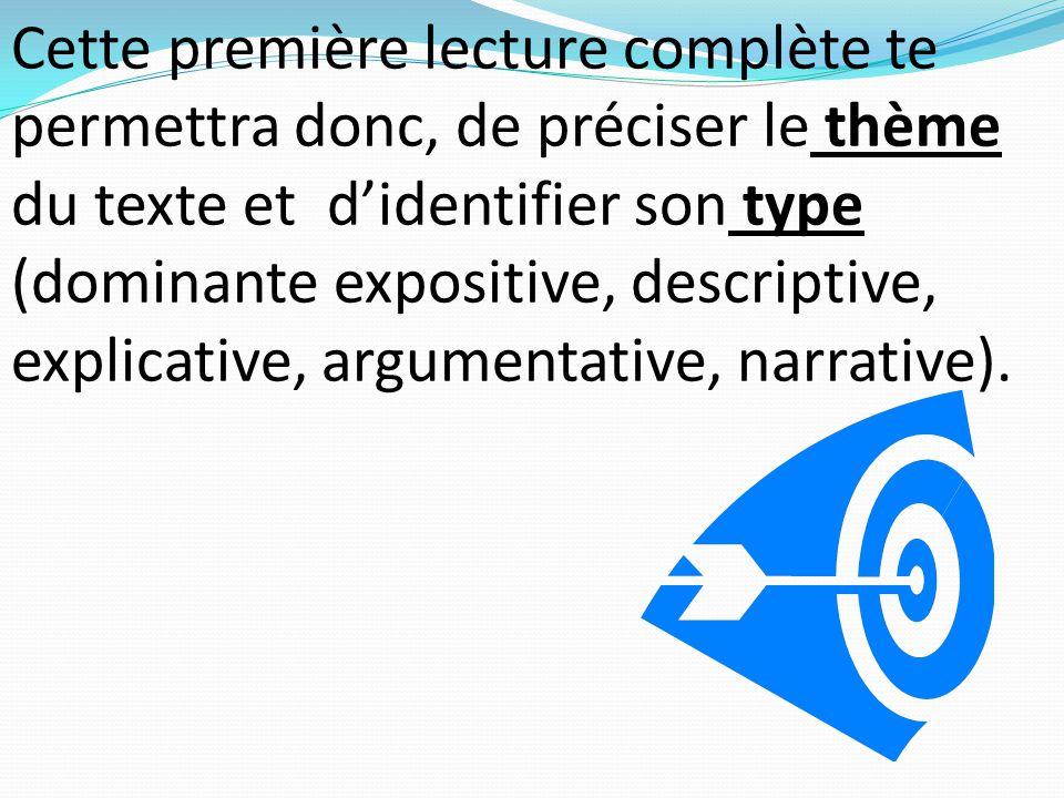 Cette première lecture complète te permettra donc, de préciser le thème du texte et d'identifier son type (dominante expositive, descriptive, explicative, argumentative, narrative).