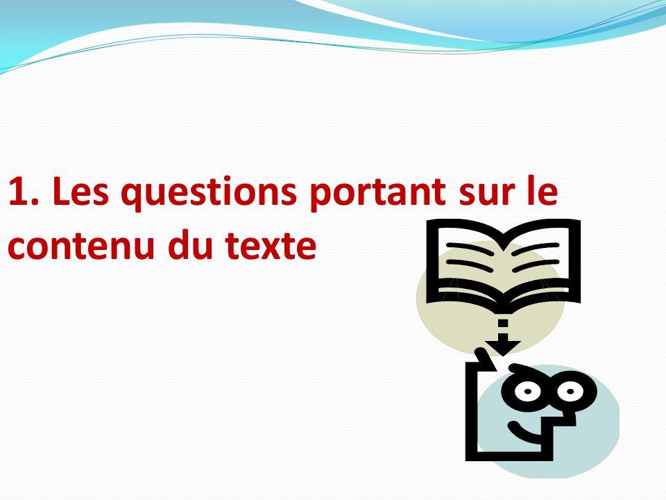 1. Les questions portant sur le contenu du texte